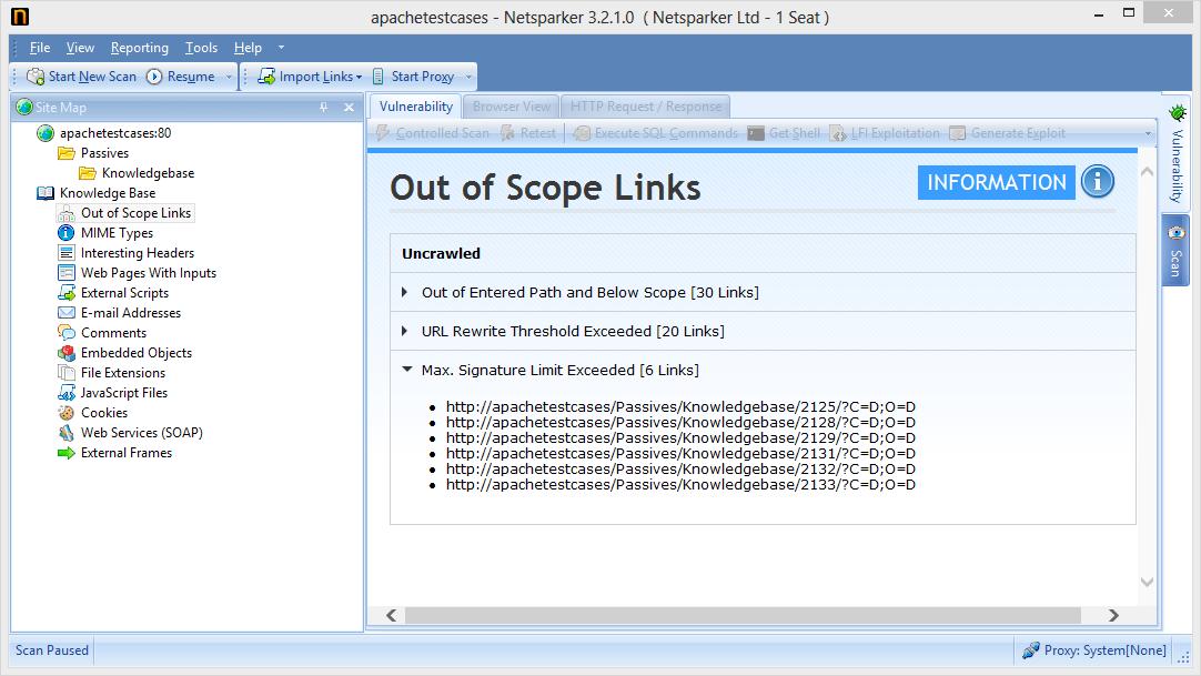 Netsparker Knowledge Base Bölümündeki Kapsam Dışı Linkler (Out of Scope Links)