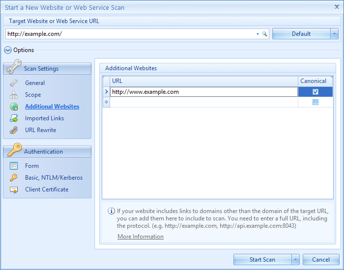 Netsparker Web Güvenlik Tarayıcısında Ek Web Sitelerini Yapılandırma