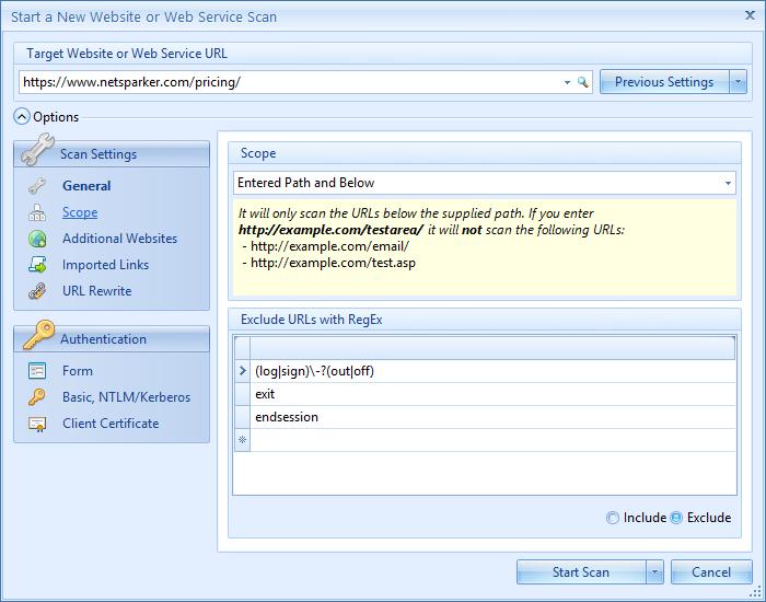 Netsparker Desktop'ta Linkleri Dahil veya Hariç Tutma