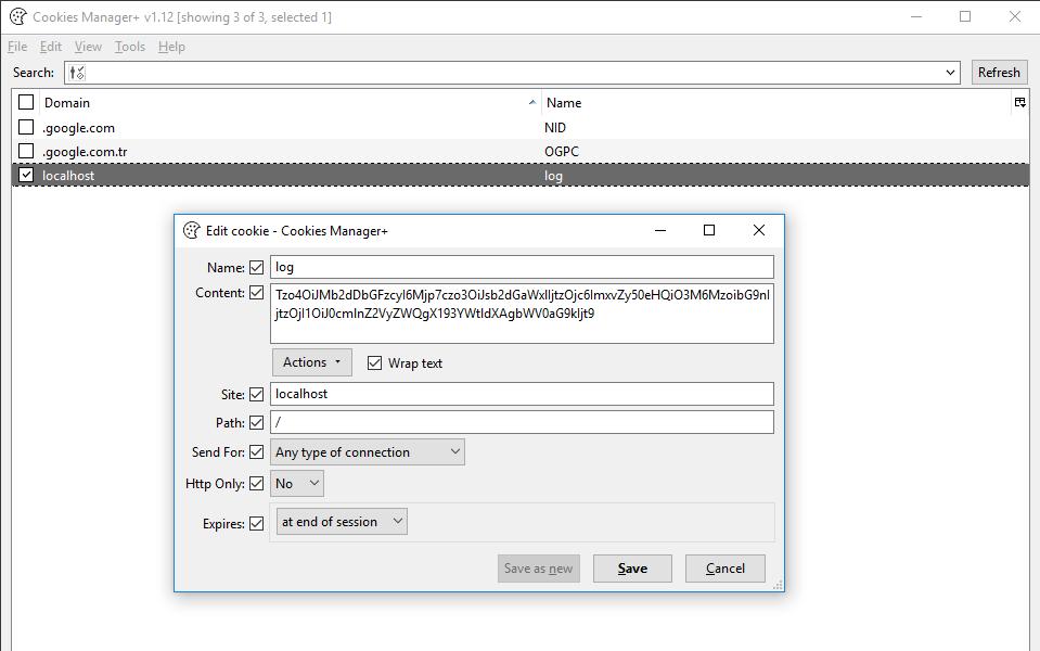 base64 ile encode edilmiş serialized verisi