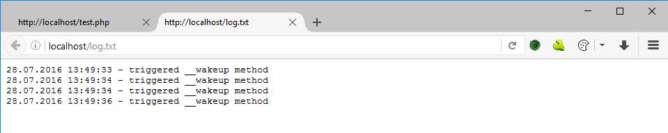 Log.txt dosyasına $log değişkeninin yazılması